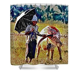 Just Walking His Water Buffalo Shower Curtain