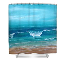 Just Waving Shower Curtain by T Fry-Green
