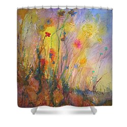 Just Weeds Shower Curtain by Mary Schiros