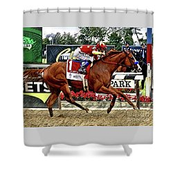 Justify Wins The Triple Crown Shower Curtain