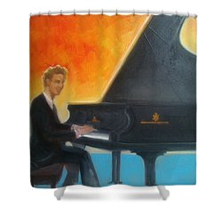 Justin Levitt At Piano Red Blue Yellow Shower Curtain