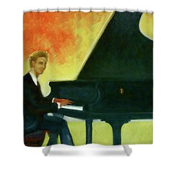 Justin Levitt Red Black Yellow Shower Curtain