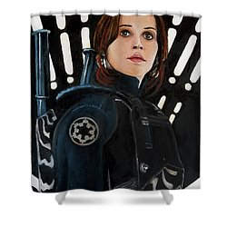 Jyn Erso Shower Curtain by Tom Carlton
