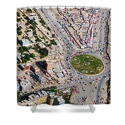 Kabul Traffic Circle Aerial Photo Shower Curtain