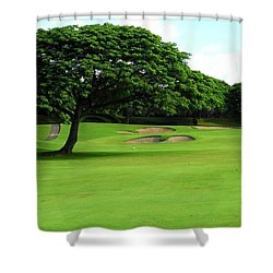 Kahili Golf Course Fairway Trees Shower Curtain by Kirsten Giving