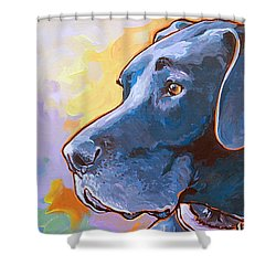 Shower Curtain featuring the painting Kaia by Nadi Spencer