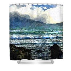 Shower Curtain featuring the digital art Kaikoura Seascape by Kai Saarto