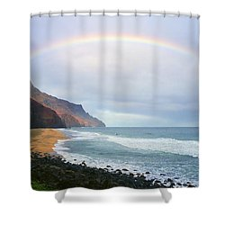 Kalalau Beach Rainbow Shower Curtain by Kevin Smith