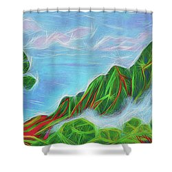 Shower Curtain featuring the painting Kalalau Mists by Angela Treat Lyon
