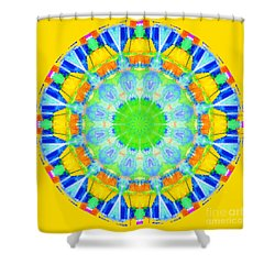 Shower Curtain featuring the photograph Kaleidos - Passionfruit Fddd00 Old Gold by Jack Torcello
