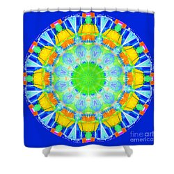 Shower Curtain featuring the photograph Kaleidos - Passionfruit 0125db Blue by Jack Torcello