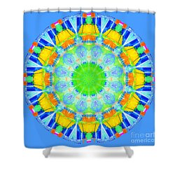 Shower Curtain featuring the photograph Kaleidos - Passionfruit 499dff Sky Blue by Jack Torcello