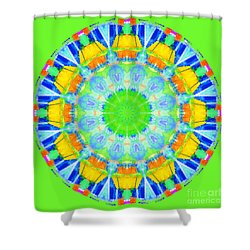 Shower Curtain featuring the photograph Kaleidos - Passionfruit 6ef92c Green by Jack Torcello