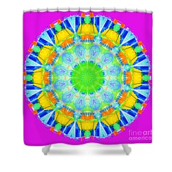 Shower Curtain featuring the photograph Kaleidos - Passionfruit E211e8 Magenta by Jack Torcello