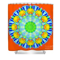 Shower Curtain featuring the photograph Kaleidos - Passionfruit Fe5301 Red by Jack Torcello