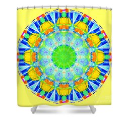 Shower Curtain featuring the photograph Kaleidos - Passionfruit Ffff66 Yellow by Jack Torcello