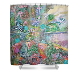Shower Curtain featuring the painting Kaleidoscope Fairies Too by Judith Desrosiers