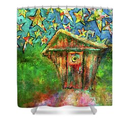 Kaleidoscope Skies Shower Curtain by Claire Bull