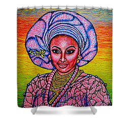 Shower Curtain featuring the painting Kalimba De Luna 2 by Viktor Lazarev