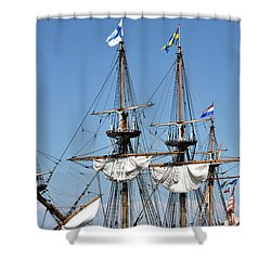 Shower Curtain featuring the photograph Kalmar Nyckel - Docked In Lewes Delaware by Brendan Reals