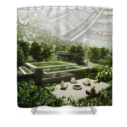 Shower Curtain featuring the digital art Kalpana One Houseing by Bryan Versteeg