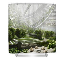 Shower Curtain featuring the digital art Kalpana One Houseing by Bryan Versteeg