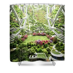 Shower Curtain featuring the digital art Kalpana One Neighborhood Vertical by Bryan Versteeg