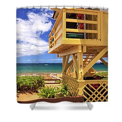 Shower Curtain featuring the photograph Kamaole Beach Lifeguard Tower by James Eddy