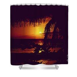 Kamaole Tropical Nights Sunset Gold Purple Palm Shower Curtain by Sharon Mau