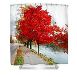 Kanawha Boulevard In Autumn Shower Curtain