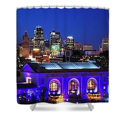 Kansas City Skyline At Night Shower Curtain by Matt Harang