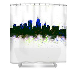 Kansas City Skyline Blue  Shower Curtain by Enki Art