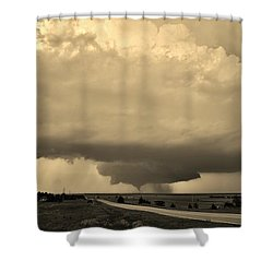 Shower Curtain featuring the photograph Kansas Twister - Sepia by Ed Sweeney