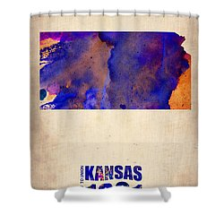 Kansas Watercolor Map Shower Curtain by Naxart Studio
