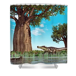 Kaprosuchus Crocodyliforms Shower Curtain by Walter Myers
