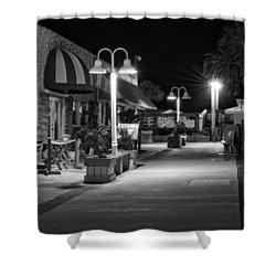 Karaoke On Carolina Beach Boardwalk In Black And White Shower Curtain