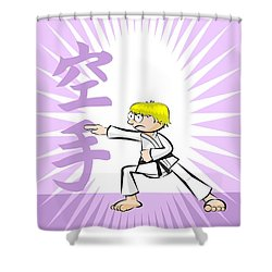 Karate Boy Training On A Background With Text Karate Written In Japanese Characters Shower Curtain