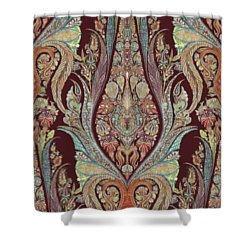 Shower Curtain featuring the painting Kashmir Elephants - Vintage Style Patterned Tribal Boho Chic Art by Audrey Jeanne Roberts