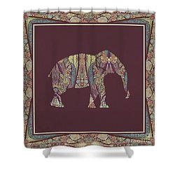 Shower Curtain featuring the painting Kashmir Patterned Elephant 2 - Boho Tribal Home Decor  by Audrey Jeanne Roberts