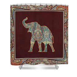 Shower Curtain featuring the painting Kashmir Patterned Elephant 3 - Boho Tribal Home Decor by Audrey Jeanne Roberts