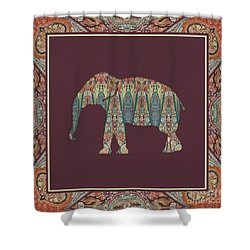 Shower Curtain featuring the painting Kashmir Patterned Elephant - Boho Tribal Home Decor  by Audrey Jeanne Roberts