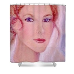Shower Curtain featuring the drawing Kate by Denise Fulmer