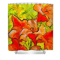 Kathies Daylilies Fine Art Painting North Carolina Shower Curtain