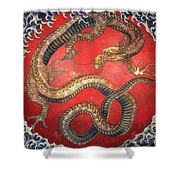 Katsushika Hokusai Dragon  Shower Curtain
