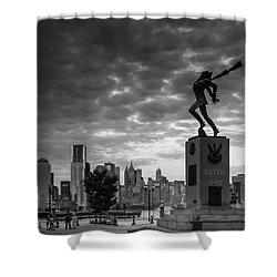Shower Curtain featuring the photograph Katyn New World Trade Center In New York by Ranjay Mitra