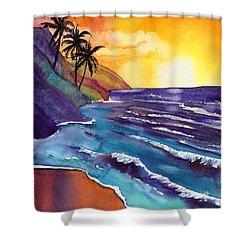 Kauai Na Pali Sunset Shower Curtain by Marionette Taboniar