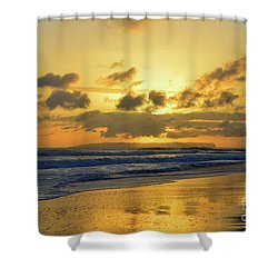 Kauai Sunset With Niihau On The Horizon Shower Curtain