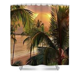 Olena Art Kauai Tropical Island View Shower Curtain