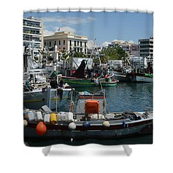Kavala Harbor Shower Curtain