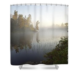 Shower Curtain featuring the photograph Kawishiwi Morning Fog by Larry Ricker